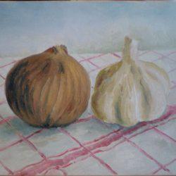 Peinture à l'huile - Les oignons